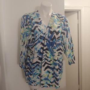 Cj banks 3/4 sleeve floral cardigan